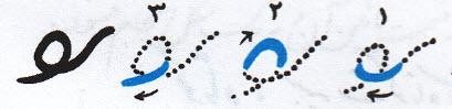 آموزش خوشنویسی با خودکار حرف (ف) در وسط کلمه
